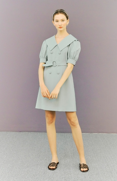 belted double button dress